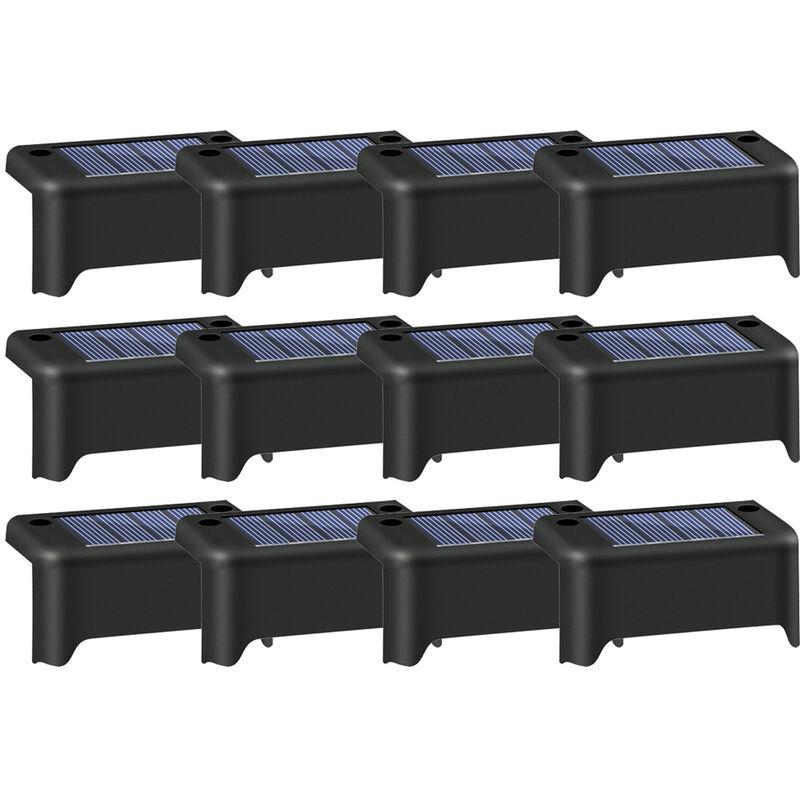 Solare impermeabile per esterni da giardino, recinzione, luce, caldo, lampada da percorso, per giardino, nero, 12 pezzi - ASUPERMALL