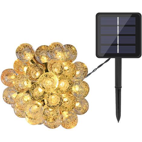Solares Globe cadena luces LED 20 16.4 pies 8 modos de iluminacion IP65 resistente al agua con energia solar construido en cadena de la lampara del centelleo del Batterys 600mAh, para decoracion de jardin de Navidad, blanco caliente, 20 LED