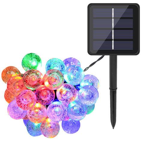 Solares Globe cadena luces LED 20 16.4 pies 8 modos de iluminacion IP65 resistente al agua con energia solar construido en la lampara 600mAh Batterys El centelleo de cuerdas, para decoracion de jardin de Navidad, multicolor, 20 LED