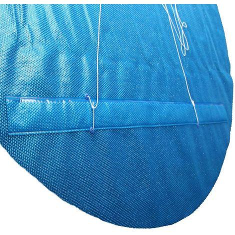 Solarfolie blau 400my mit Zugschlaufe, Ösen und Leine für Ovalformbecken