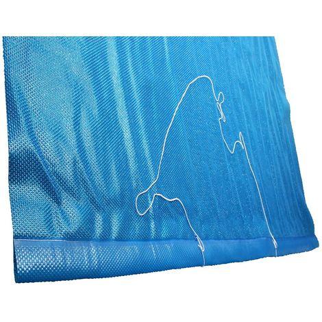Solarfolie blau 400my mit Zugschlaufe, Ösen und Leine für Rechteckbecken