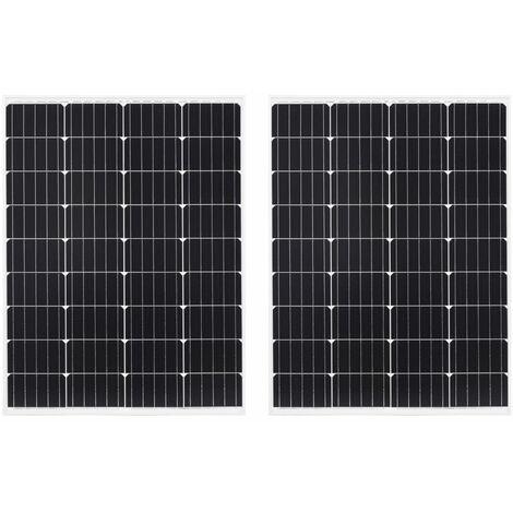 Solarmodule 2 Stk 100W Monokristallin Aluminium Sicherheitsglas