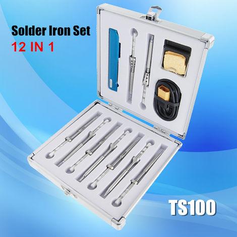 Soldador eléctrico Mini TS100 de 65 W, temperatura ajustable, chip STM32 programable, pantalla OLED digital, calentamiento rápido con punta de soldadura Sasicare