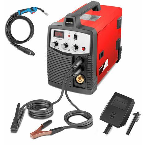 Soldador MMG185. Soldador inverter de hilo continuo 2en1 tipo MIG - MAG - MMA. Potencia entre 25A-185A. Voltaje 230V. Diámetros del alambra 0,8mm-1mm - Greencut