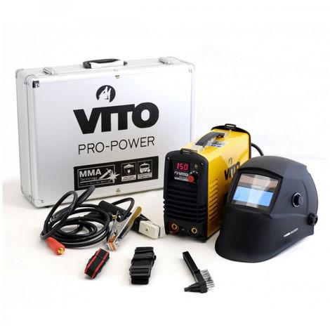 Soldadora digital inverter VITO 150 soldadura por arco 1.6-4 acero fundido-acero inoxidable + Casco LCD 9/13 VITO