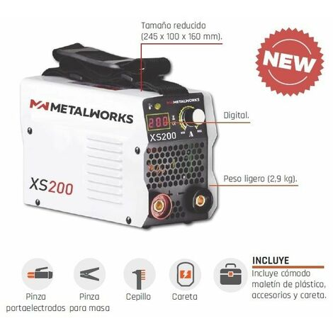 Soldadora inverter de electrodos MMA METALWORKS XS200