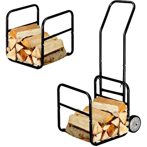 SOLDELA® Chariot Diable à Bois + Range Bûches - Support Amovible - Charge max 50kg - Structure en acier