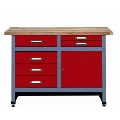 Soldes Kupper - Etabli 1 porte et 6 tiroirs Longueur: 1.20 m - Rouge 12242