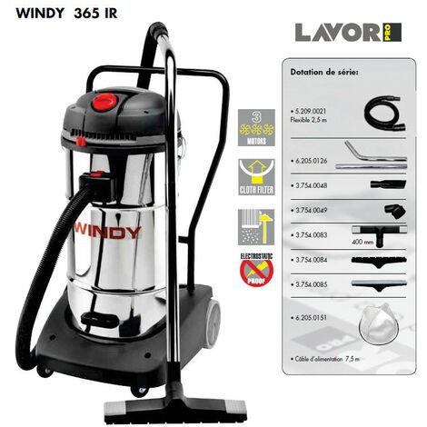 Soldes - Lavor Pro - Aspirateur eau et poussières en inox 3600W (3 moteurs) 65L 195l/s - WINDY 365 IR