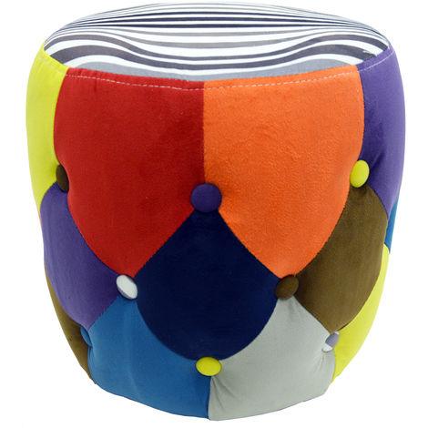 SOLEIL - Circular Drum Stool / Padded Pouffe Seat - Multi-coloured