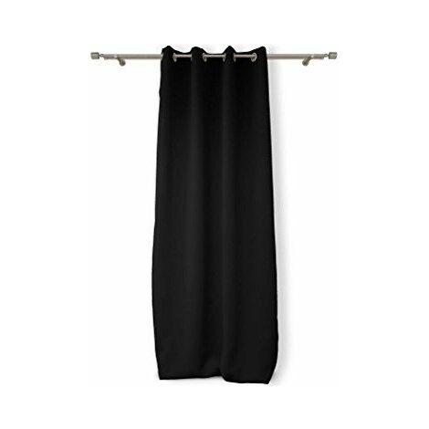 Soleil d\'Ocre 035012 Rideau Isolant/Occultant à Oeillets Polyester Noir 180 x 140 cm