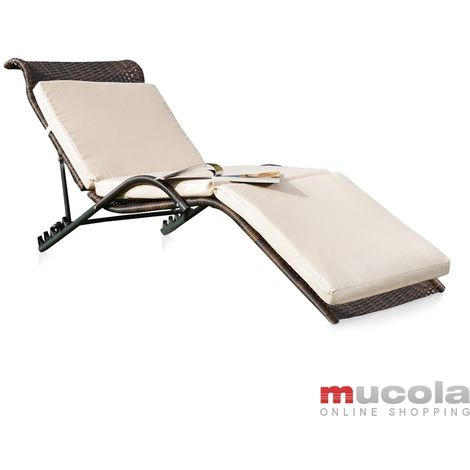 Soleil salon de jardin, bain de soleil noir / brun avec support, chaise en rotin, lounge