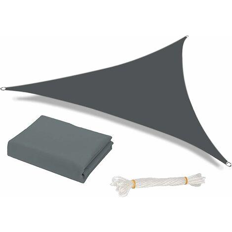 Soleil Shade Voile Étanche Etanche Jardin Patio Party Sunscreen Awnnning 3.6x3.6x3.6m Triangle Auvent de triangle 98% de bloc UV avec corde libre, gris foncé