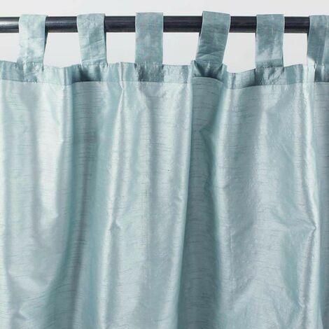 SOLENE - Rideau effet soie à pattes bleu ciel 140x250 - Bleu