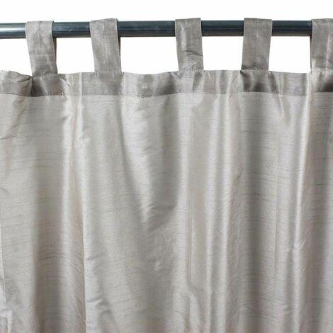 SOLENE - Rideau effet soie à pattes gris 140x250 - Gris