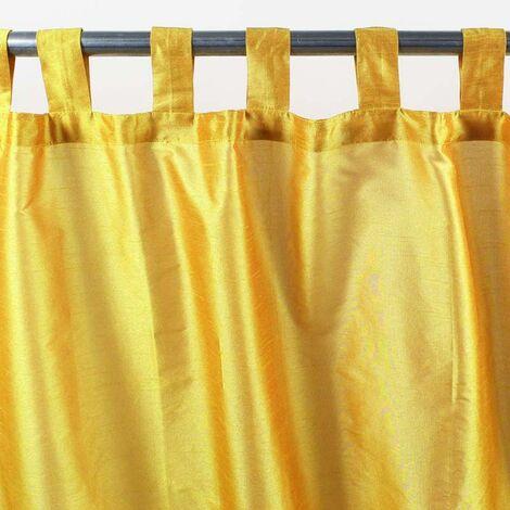 SOLENE - Rideau effet soie à pattes jaune 140x250 - Jaune