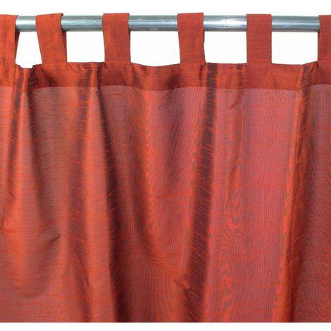 SOLENE - Rideau effet soie à pattes marron 140x250 - Marron