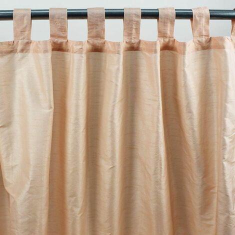 SOLENE - Rideau effet soie à pattes pêche 140x250 - Orange