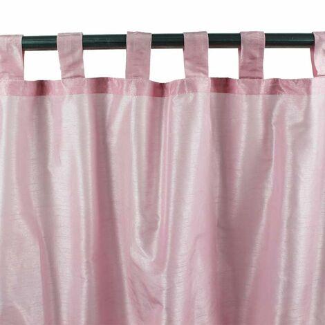 SOLENE - Rideau effet soie à pattes rose 140x250 - Rose