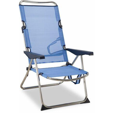 Solenny Chaise De Plage Lit Pliable 4 Positions Bleu Avec Accourdoirs