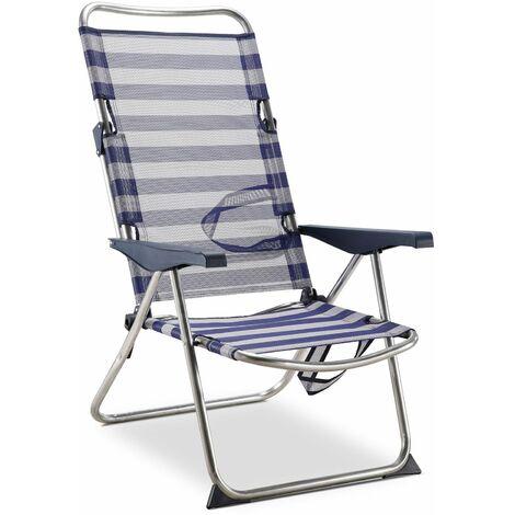 Solenny Chaise De Plage Lit Pliable 4 Positions Bleu Et Blanc Avec Accourdoirs
