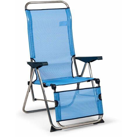Solenny Fauteuil De Jardin Pliant Relax 5 Positions Chaise Longue Dossier Anatomique Bleu Et Blanc