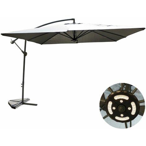 Solenzara à LED gris : Parasol à LED déporté 3x3m