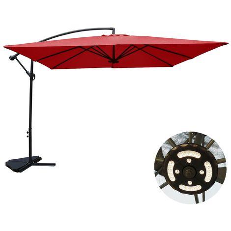 Solenzara à LED terracotta : Parasol à LED déporté 3x3m