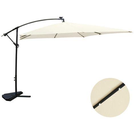 Solenzara Bulle écru : parasol LED déporté 3x3m
