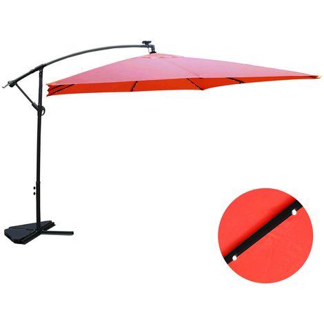 Solenzara Bulle terracotta : parasol LED déporté 3x3m