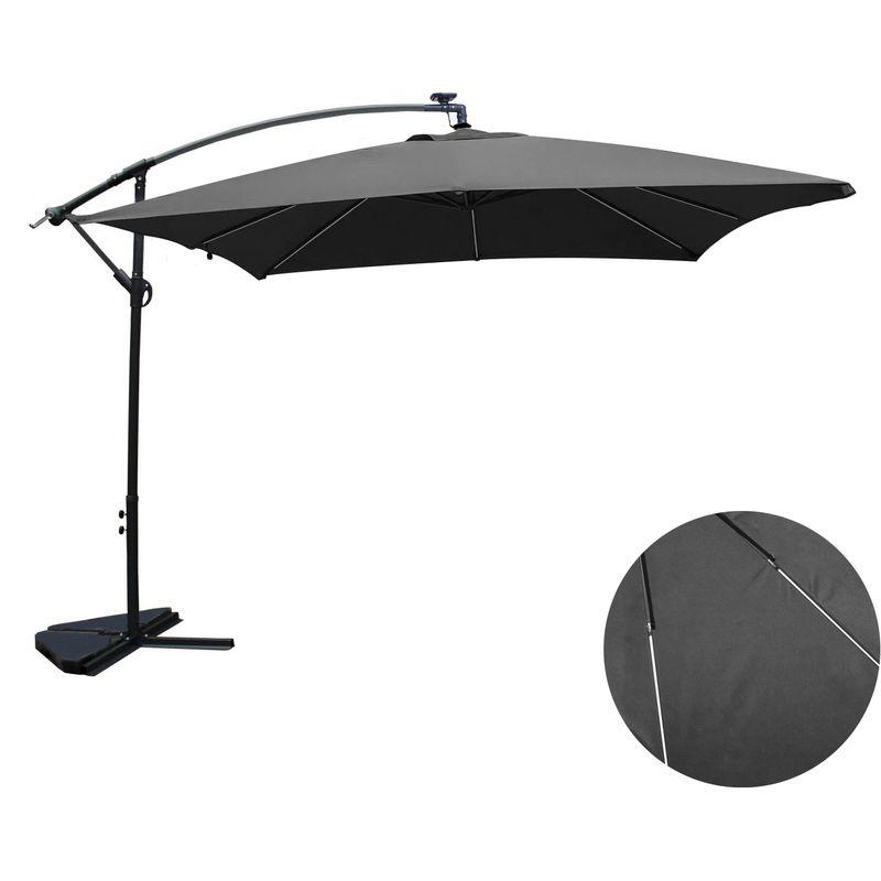 Concept-usine - Solenzara Néon gris : parasol LED déporté 3x3m