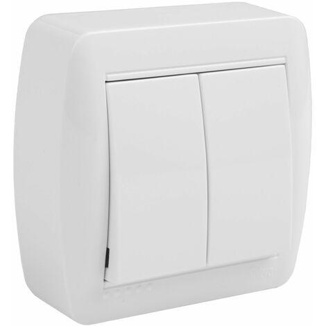 Solera mural doble conmutador/interruptor instalación en superficie blanco