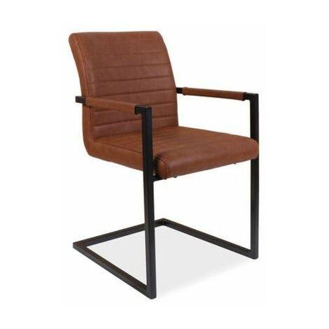 SOLIB - Chaise style industriel avec accoudoirs salon/séjour/bureau - 87x47x44 cm - Rembourrée en similicuir - Base en métal - Brun
