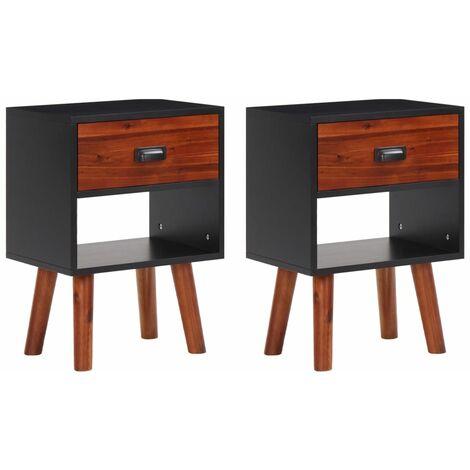 Solid Acacia Wood Bedside Cabinets 2 pcs 40x30x58 cm