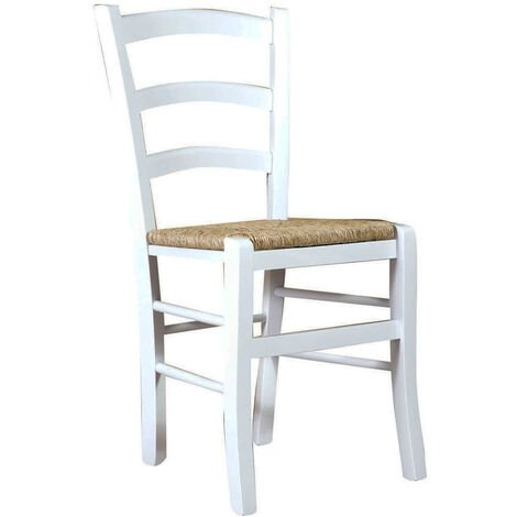 """main image of """"Solid beech wood chair with white lacquered finish and straw seat L45xPR45xH88 cm Made in Italy"""""""