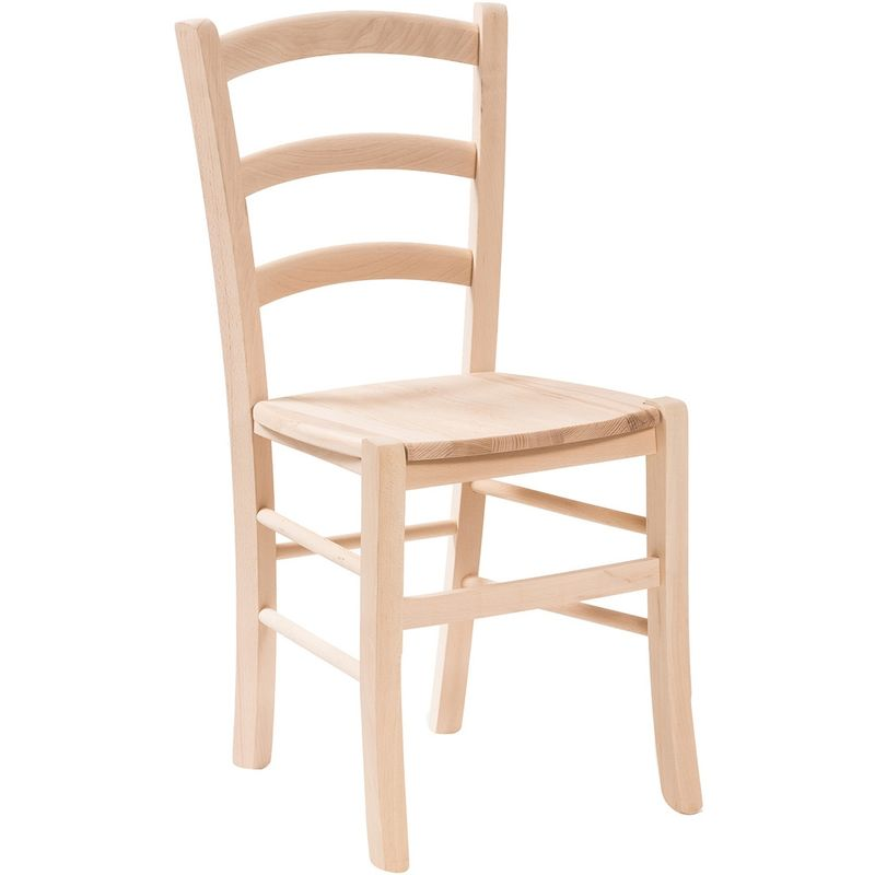 Biscottini International Art Trading solid beech wood chair with wooden seat l45xpr45xh88 cm made in italy