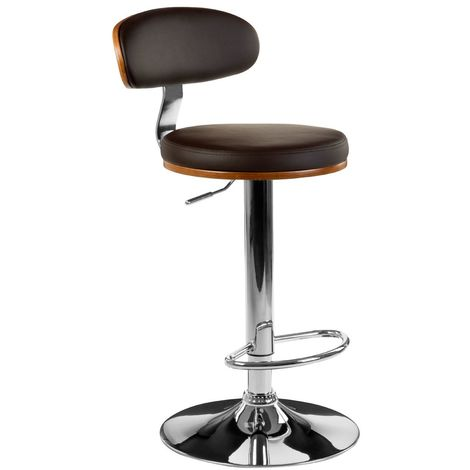 Solid Bentwood Bar Chair Chrome Base With Brown Leather Effect