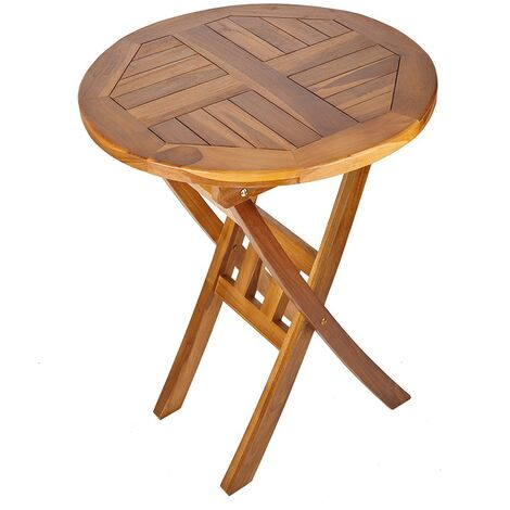 Solid Hardwood Round Wooden Garden Drinks Table - Patio Bistro Outdoor Furniture