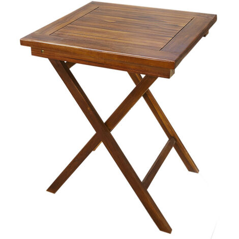 Solid Hardwood Square Wooden Garden Drink Table - Patio Bistro Outdoor Furniture
