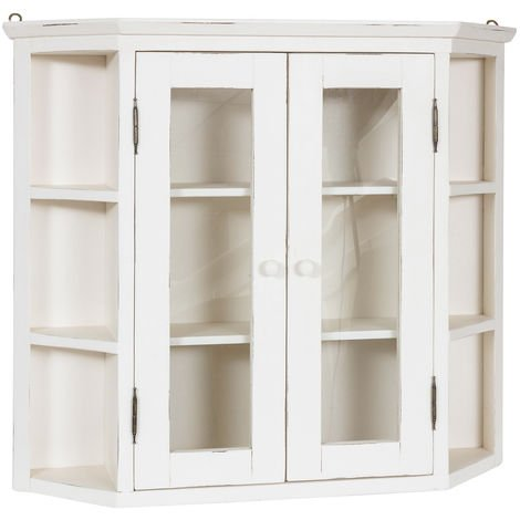 Solid lime wood antiqued white finish notched display cabinet. Made in Italy