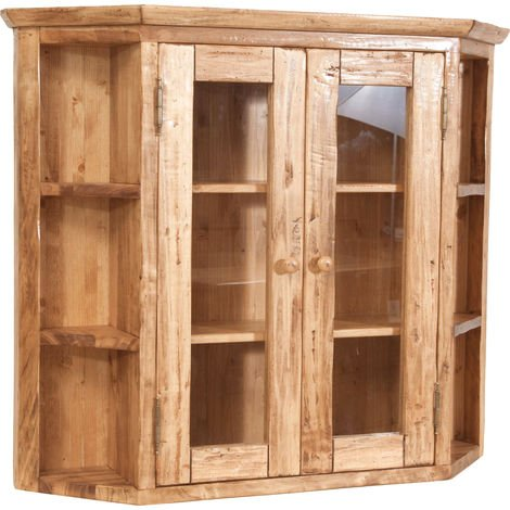 Solid lime wood natural finish sized notched display cabinet. Made in Italy