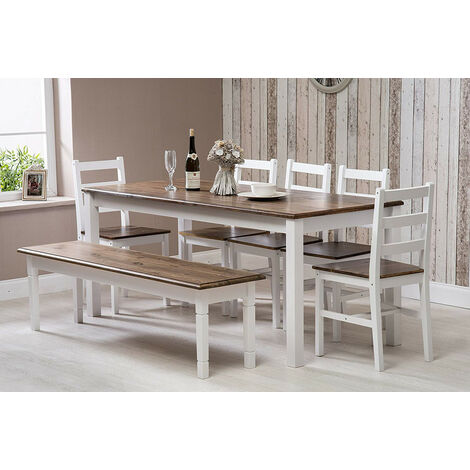 Solid Pine Wood Dining Set Extra Large Table with 5 Chairs & One Bench Dining Home Furniture