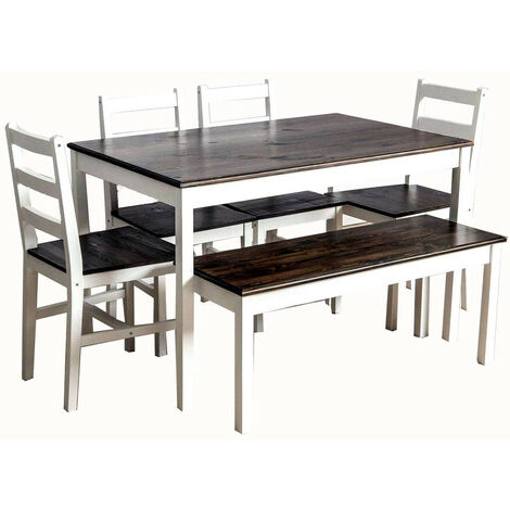 Solid Pine Wood Dining Set Medium Table with 4 Chairs & One Bench Dining Home Furniture
