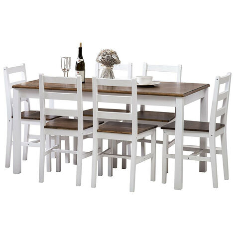 Solid Pine Wood Dining Set Medium Table with 6 Chairs Dining Home Furniture