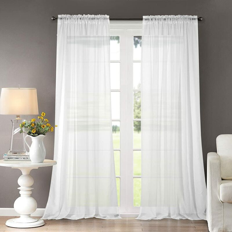 Solid Sheer Curtains Draperies White Rod Pocket 2 Panels 52' W x 96' L
