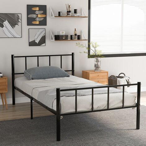 Solid Single Metal Bed Frame 3ft for Adults Kids Children with Vintage Headboard and Footboard, Fits for 90 * 190 CM Mattress, Black