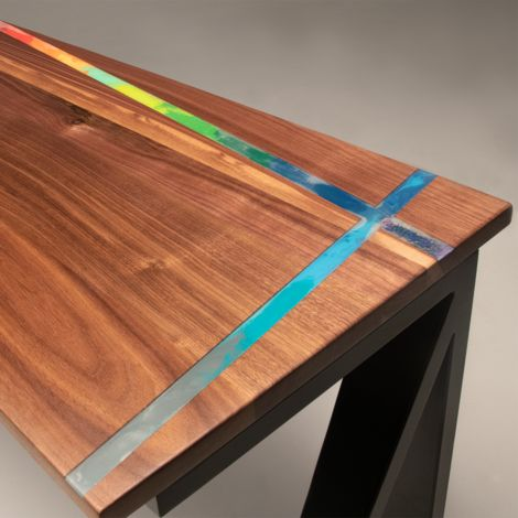Solid Walnut Desk with Colourful Wax Inlay 140cm x 60cm Clear Coated