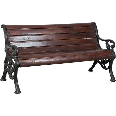 Solid wood and cast iron W160xDP65xH75 cm sized bench