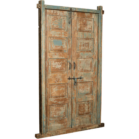 Solid wood and iron door for indoor or outdoor use old and antique medieval with frame