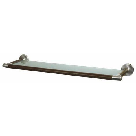 Solid Wood and Zamak Below Mirror Ledge Bathroom Sink Tempered Glass Shelf